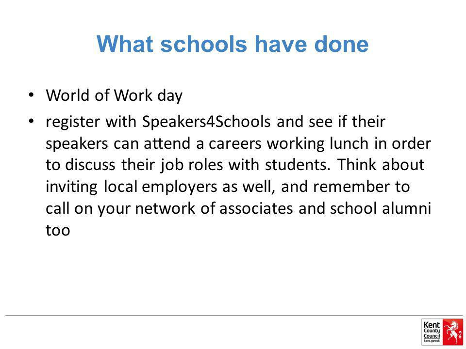 What schools have done World of Work day