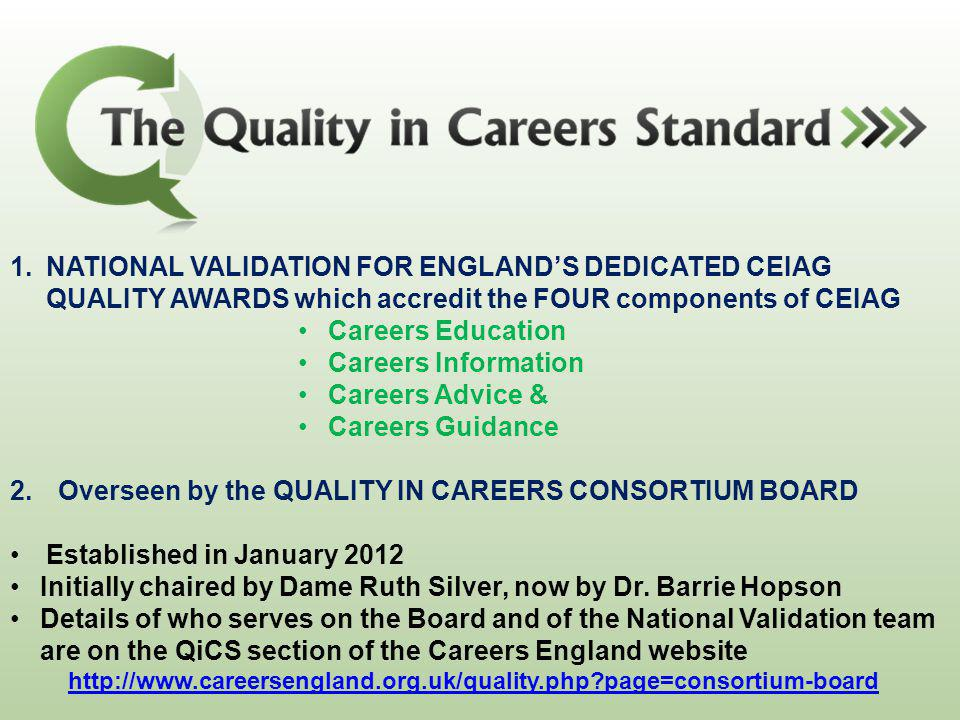 Overseen by the QUALITY IN CAREERS CONSORTIUM BOARD