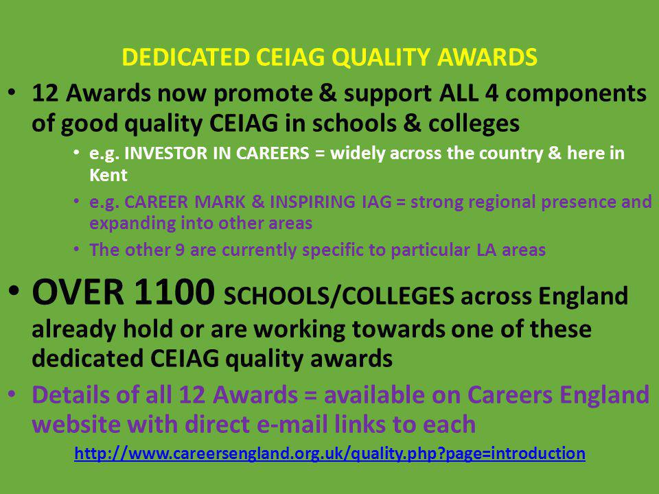 DEDICATED CEIAG QUALITY AWARDS