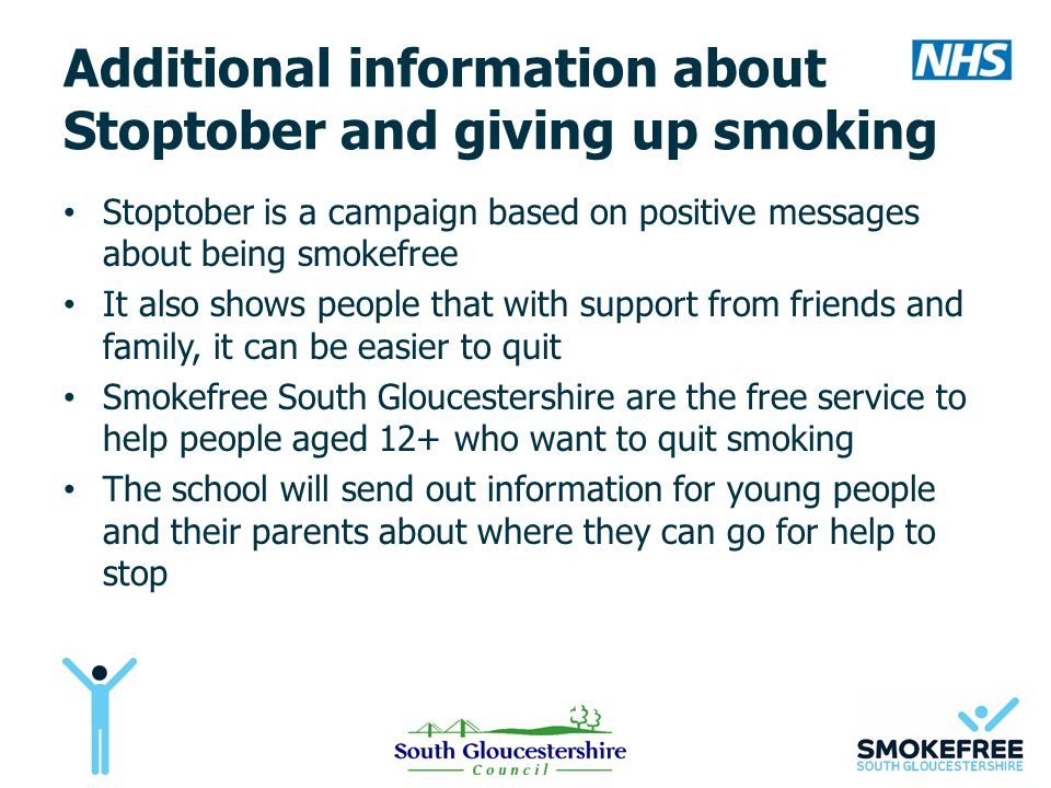 Additional information about Stoptober and giving up smoking