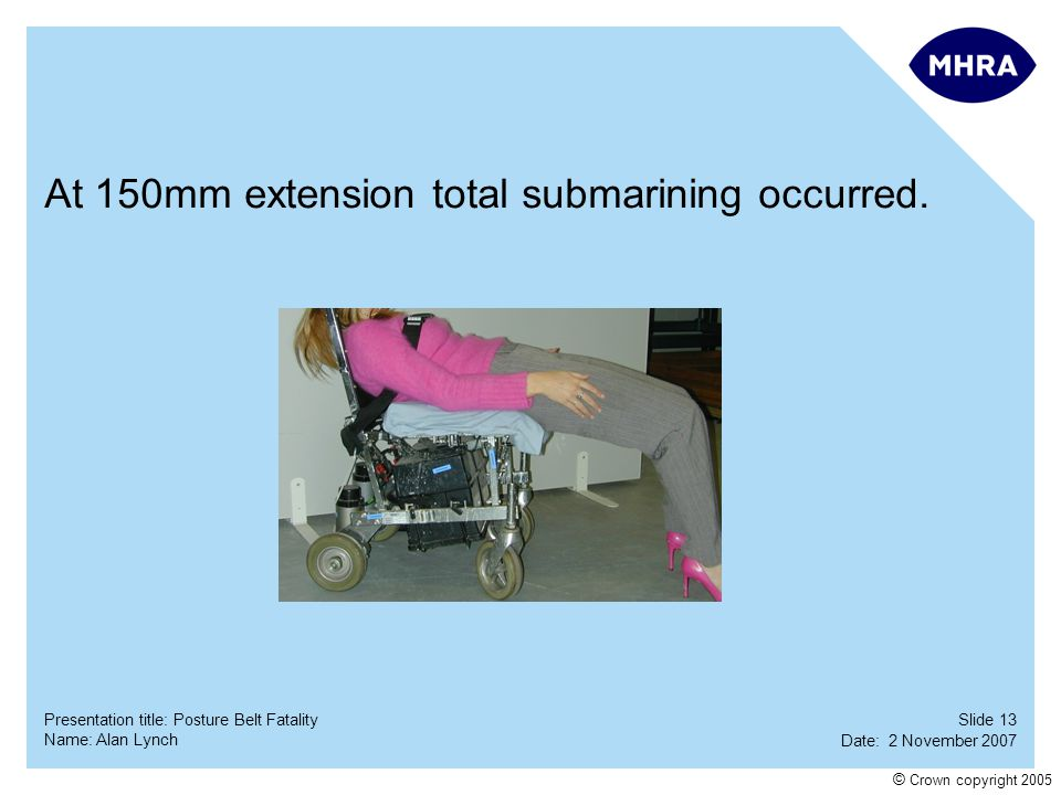 At 150mm extension total submarining occurred.