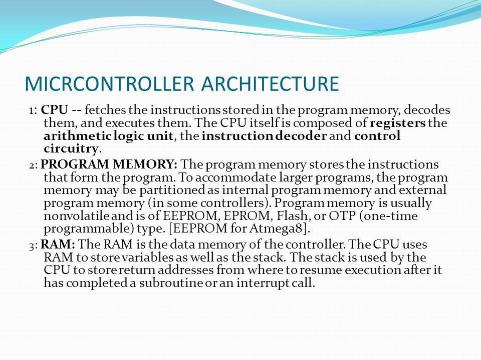 MICRCONTROLLER ARCHITECTURE