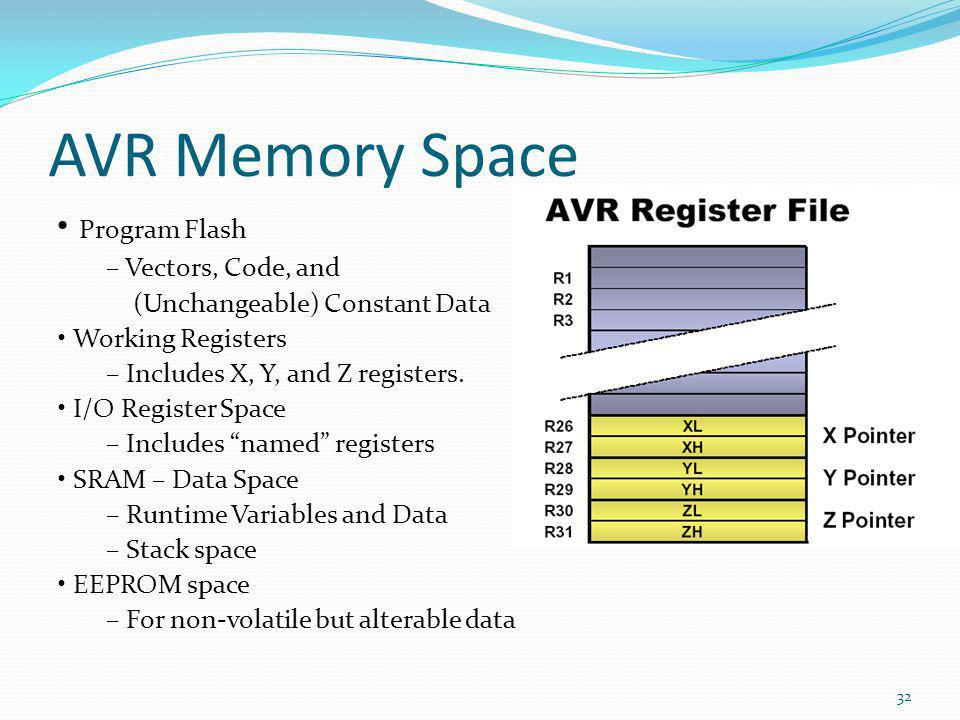AVR Memory Space • Program Flash – Vectors, Code, and