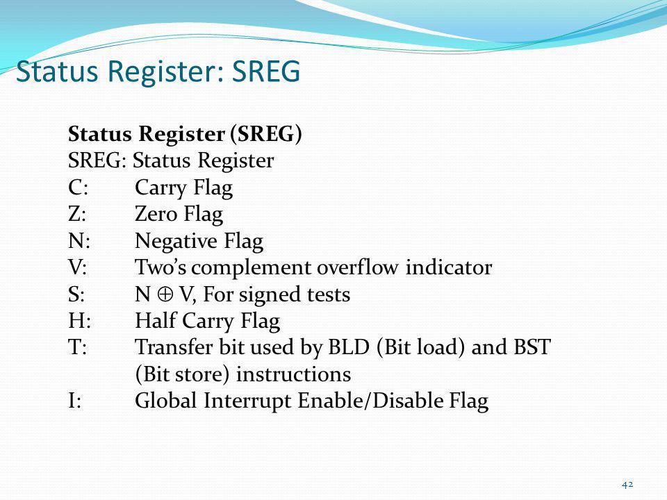 Status Register: SREG Status Register (SREG) SREG: Status Register