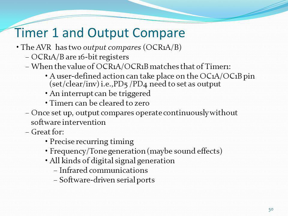 Timer 1 and Output Compare