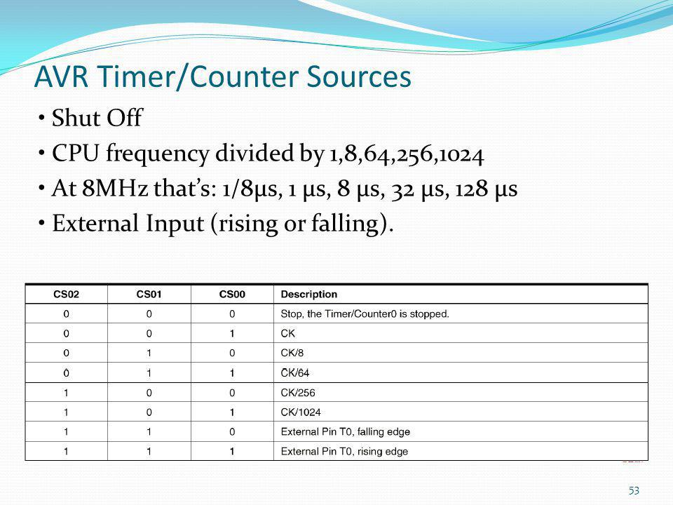AVR Timer/Counter Sources