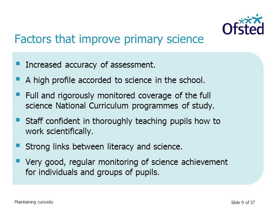 Factors that improve primary science