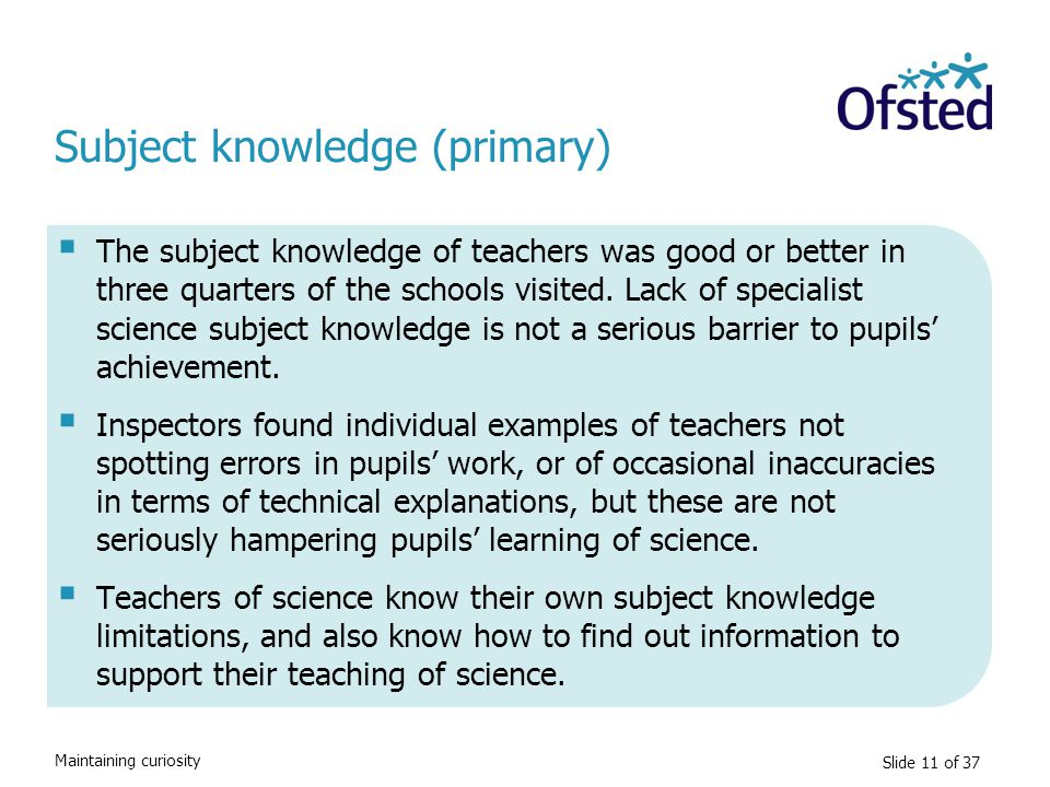 Subject knowledge (primary)