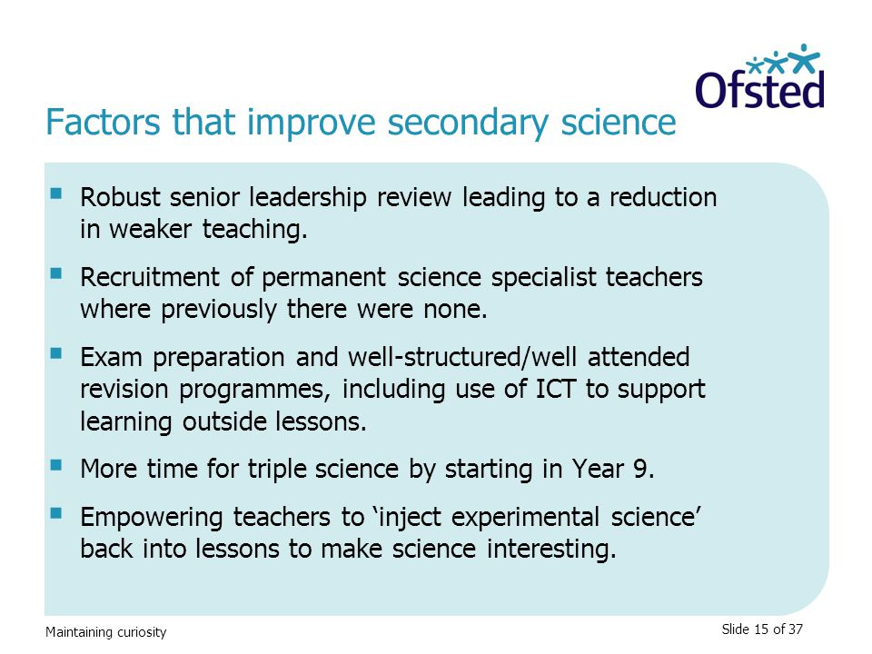 Factors that improve secondary science
