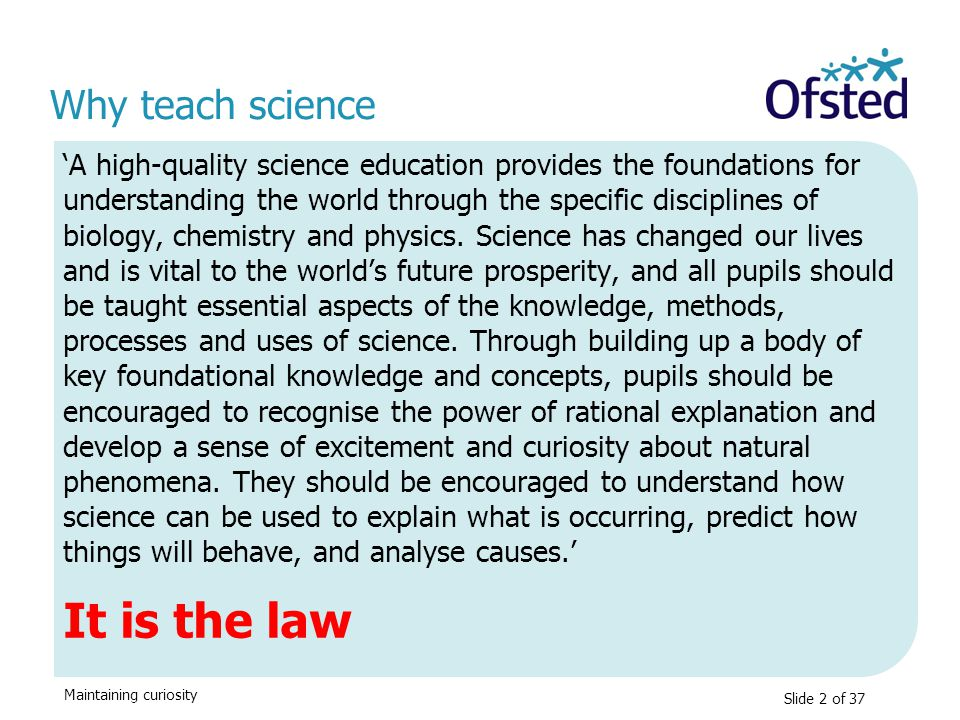 It is the law Why teach science