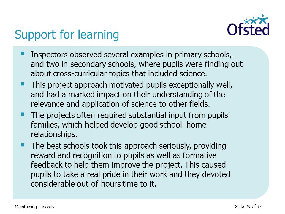 Support for learning