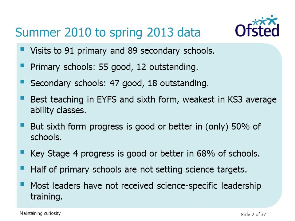 Summer 2010 to spring 2013 data Visits to 91 primary and 89 secondary schools. Primary schools: 55 good, 12 outstanding.