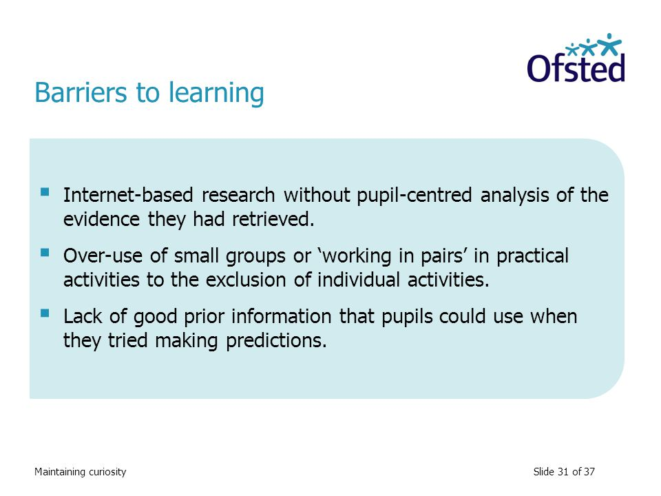 Barriers to learning Internet-based research without pupil-centred analysis of the evidence they had retrieved.
