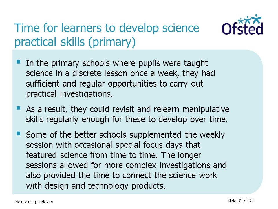 Time for learners to develop science practical skills (primary)