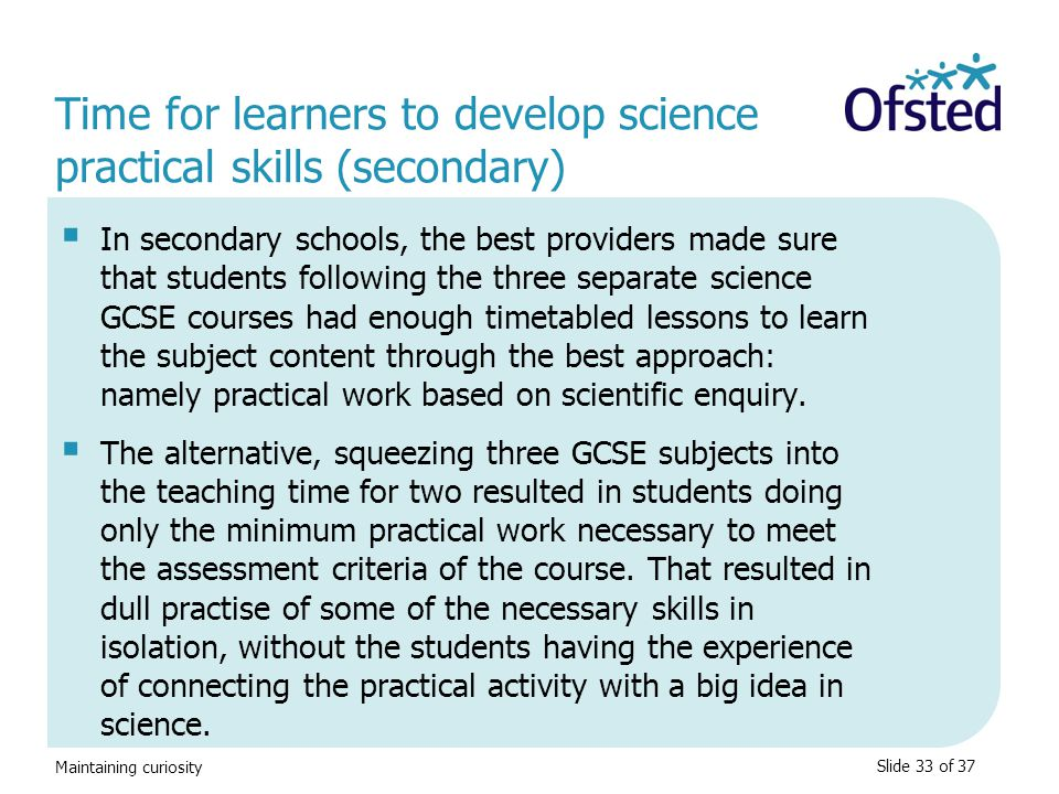 Time for learners to develop science practical skills (secondary)