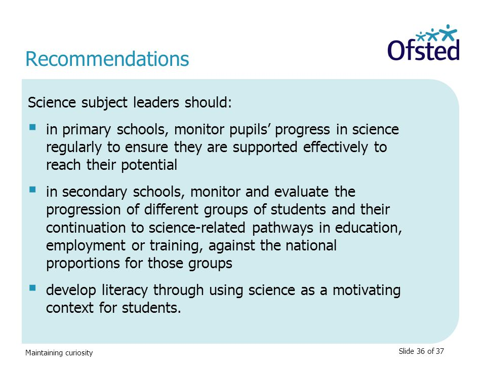 Recommendations Science subject leaders should: