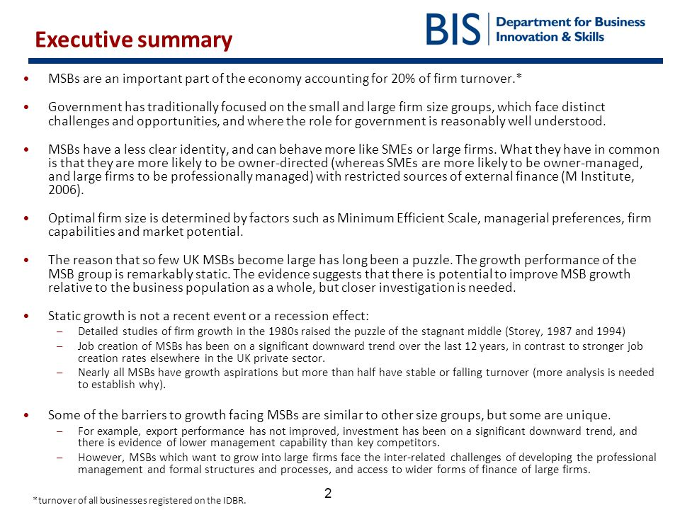Executive summary MSBs are an important part of the economy accounting for 20% of firm turnover.*