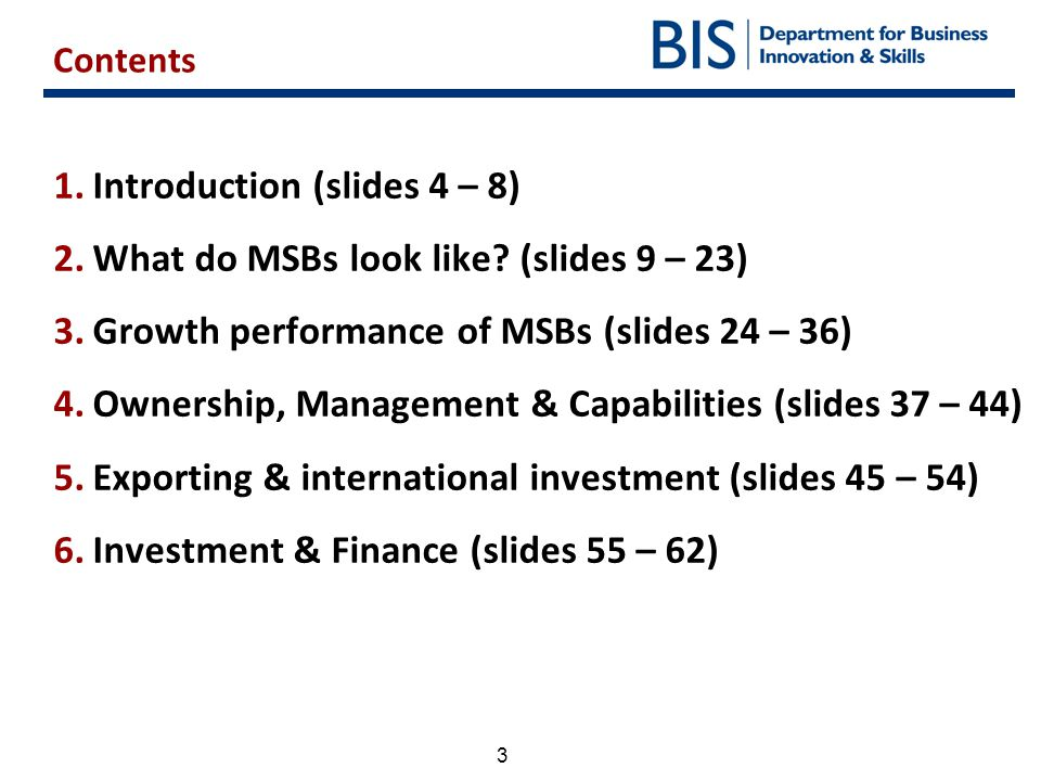 Introduction (slides 4 – 8) What do MSBs look like (slides 9 – 23)