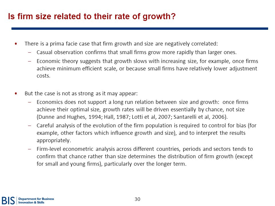 Is firm size related to their rate of growth