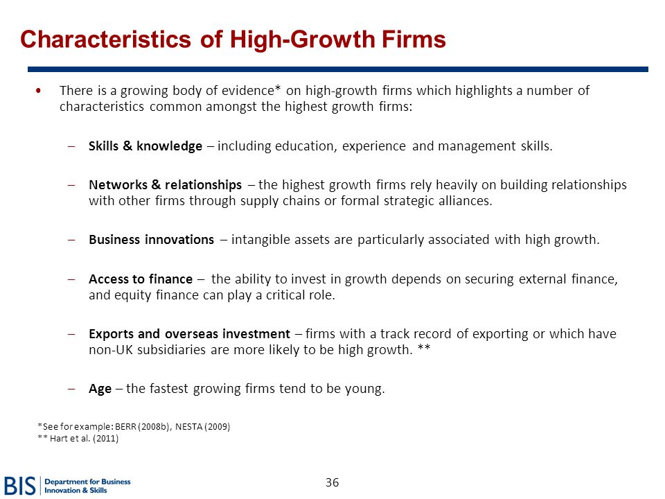 Characteristics of High-Growth Firms