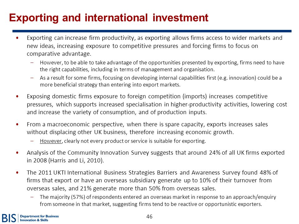Exporting and international investment
