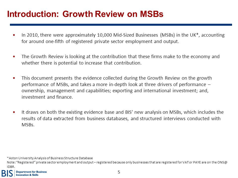 Introduction: Growth Review on MSBs