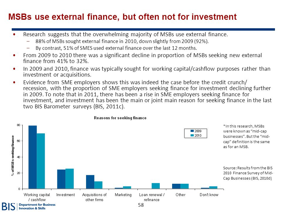 MSBs use external finance, but often not for investment