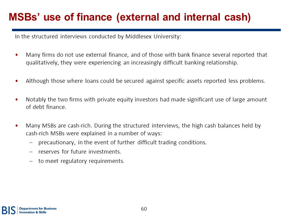 MSBs' use of finance (external and internal cash)
