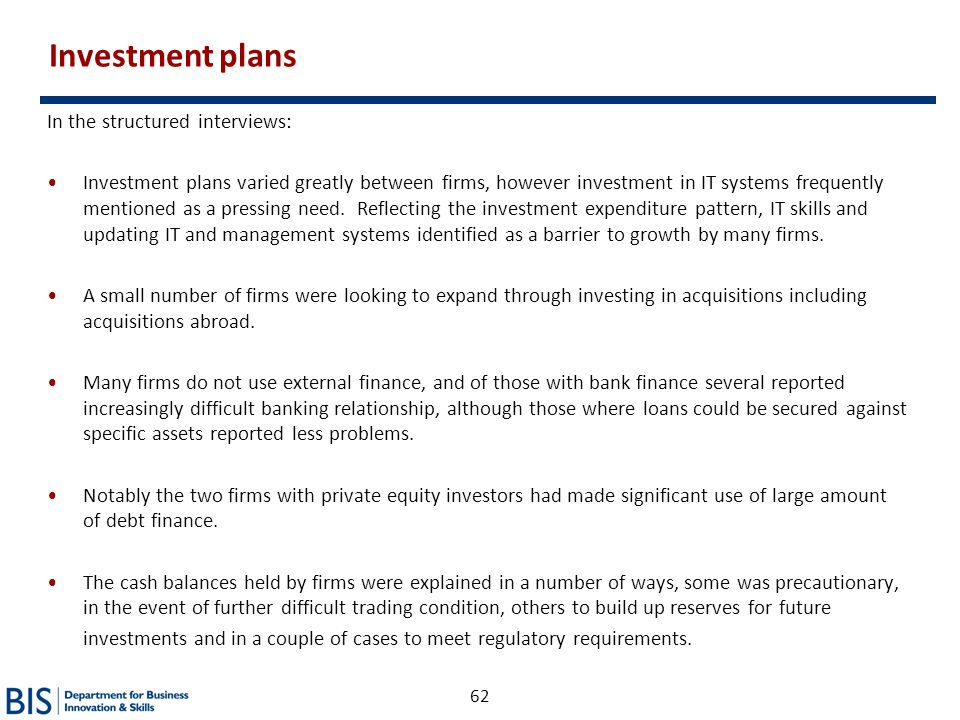 Investment plans In the structured interviews:
