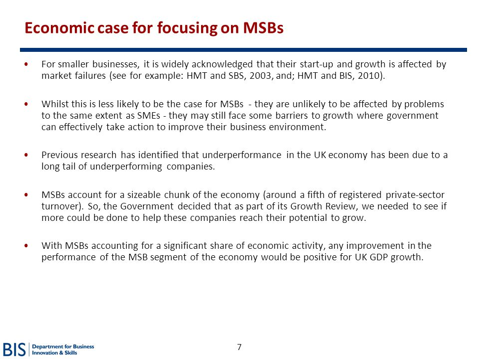 Economic case for focusing on MSBs