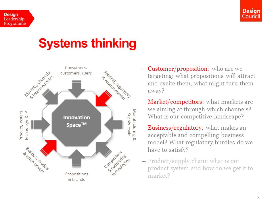 Systems thinking Consumers, customers, users.