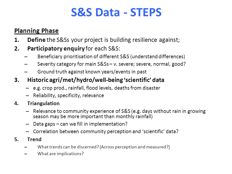 S&S Data - STEPS Planning Phase