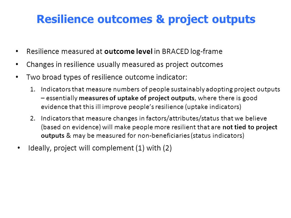 Resilience outcomes & project outputs