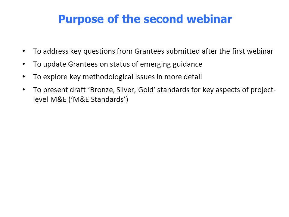Purpose of the second webinar