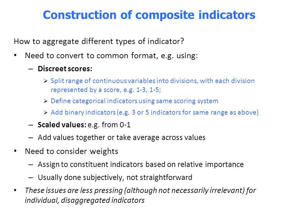 Construction of composite indicators