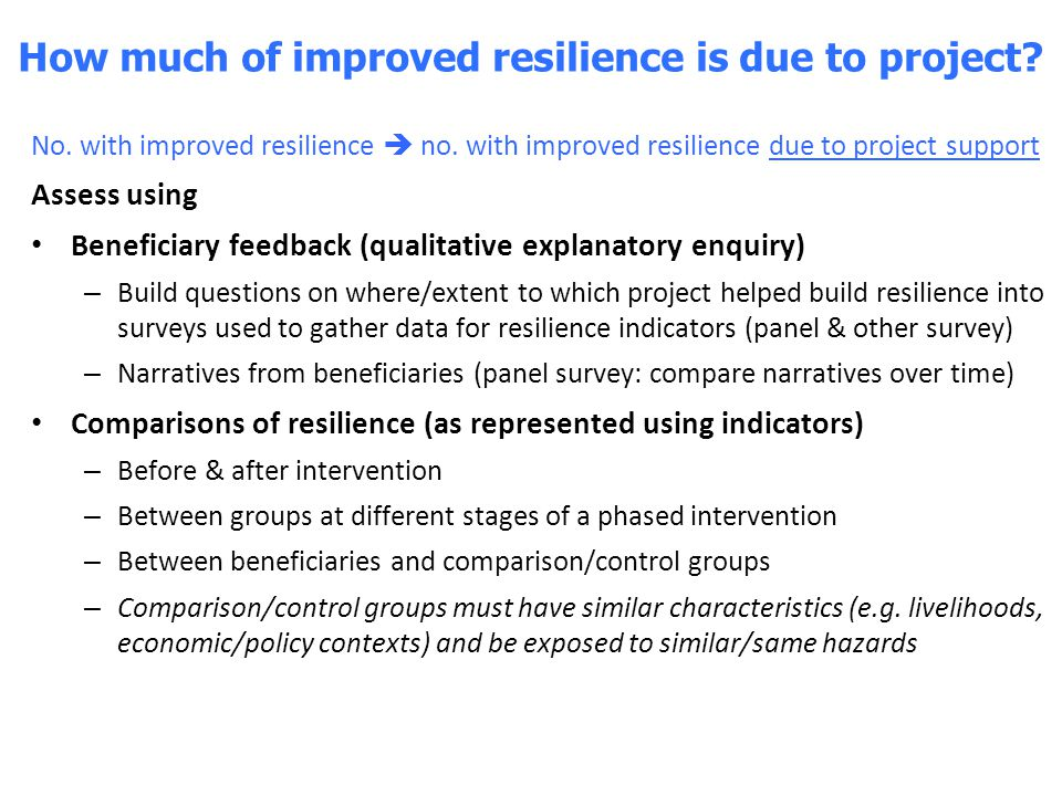 How much of improved resilience is due to project