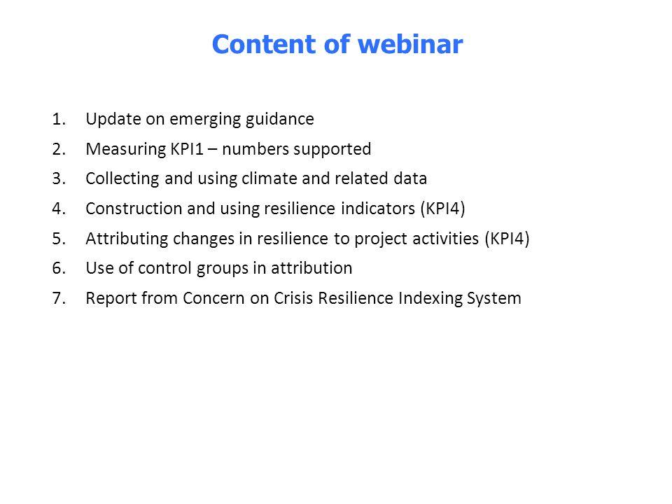 Content of webinar Update on emerging guidance