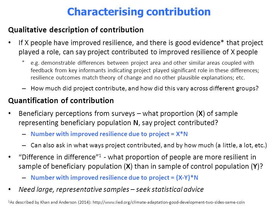 Characterising contribution