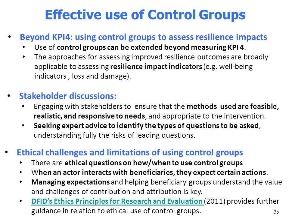 Effective use of Control Groups