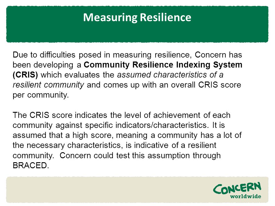 Measuring Resilience
