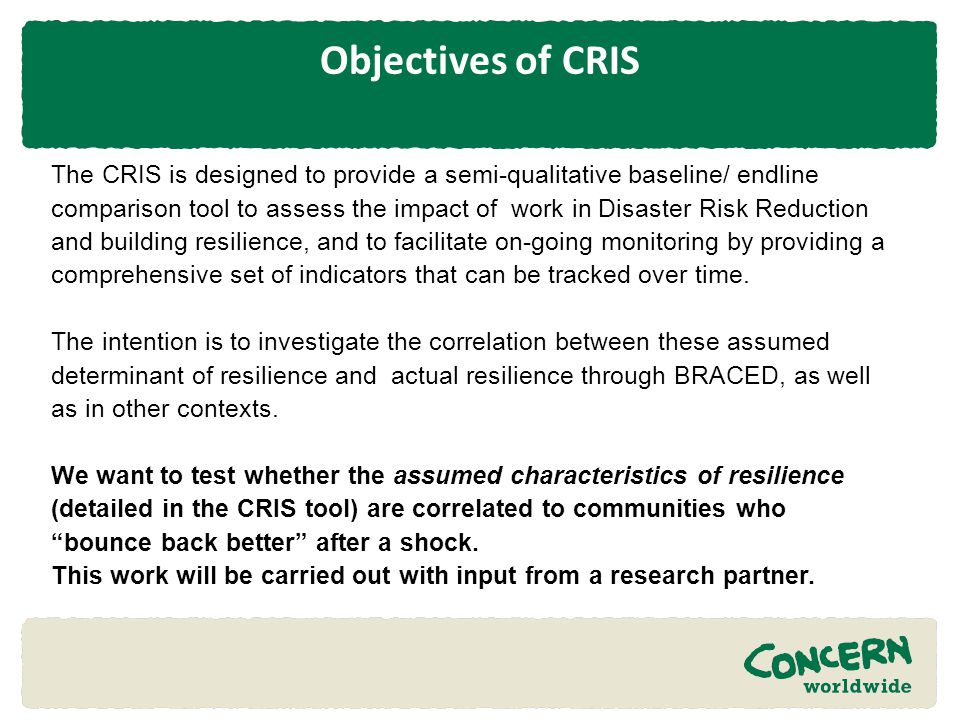 Objectives of CRIS