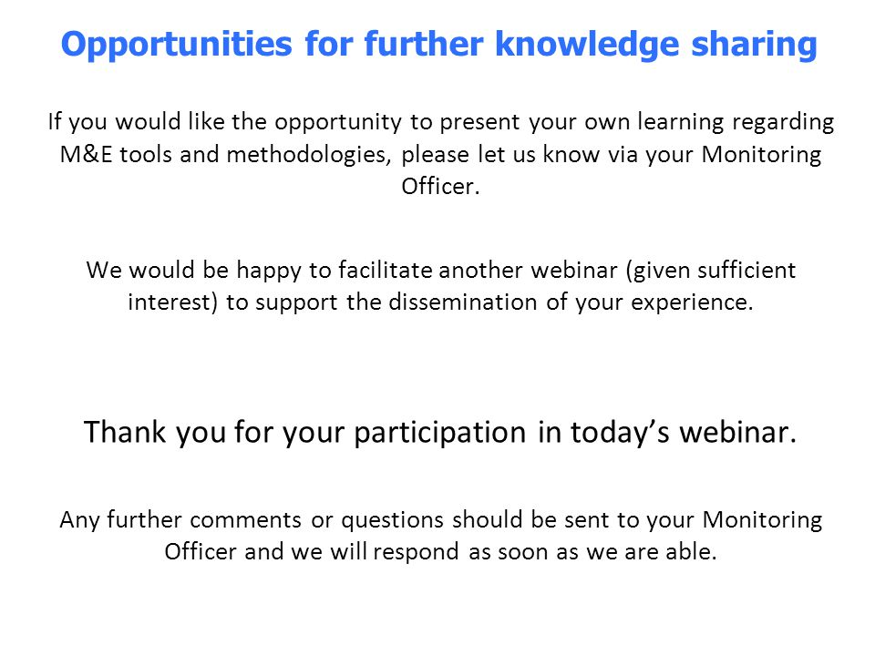 Opportunities for further knowledge sharing