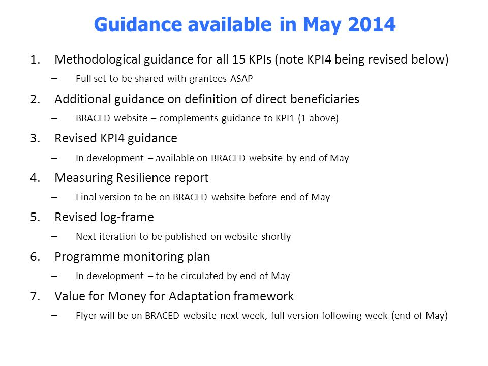 Guidance available in May 2014