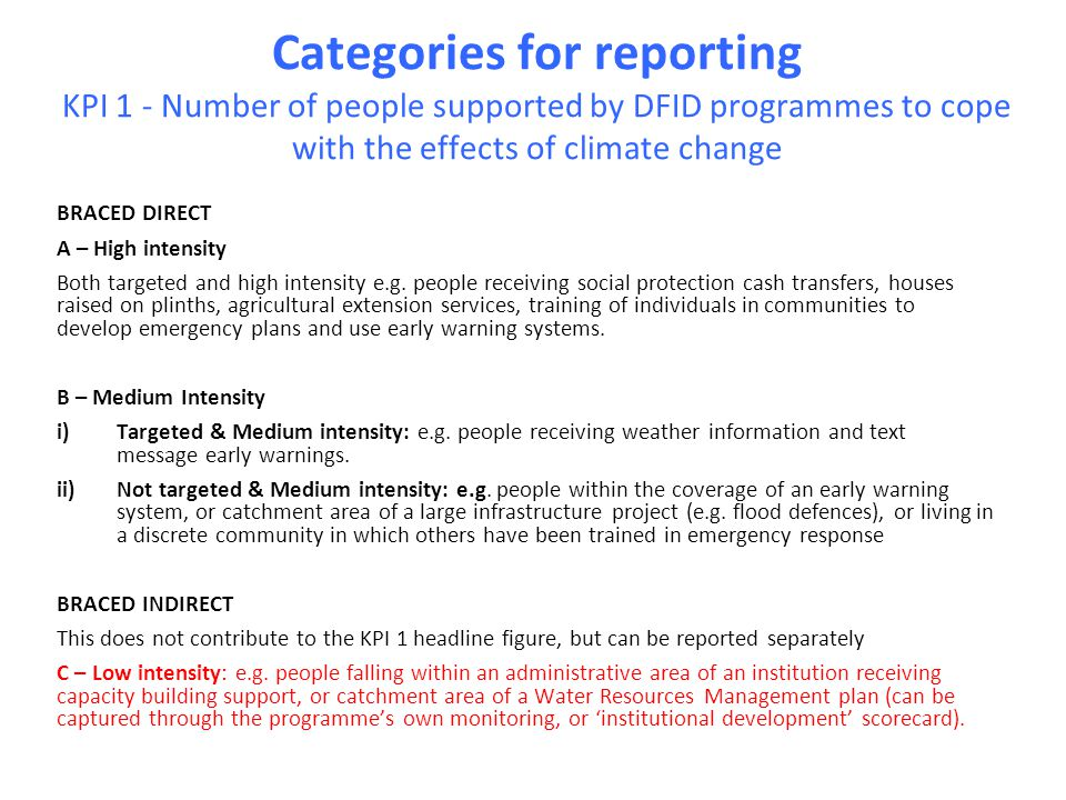 Categories for reporting KPI 1 - Number of people supported by DFID programmes to cope with the effects of climate change