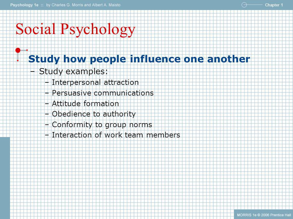 Social Psychology Study how people influence one another