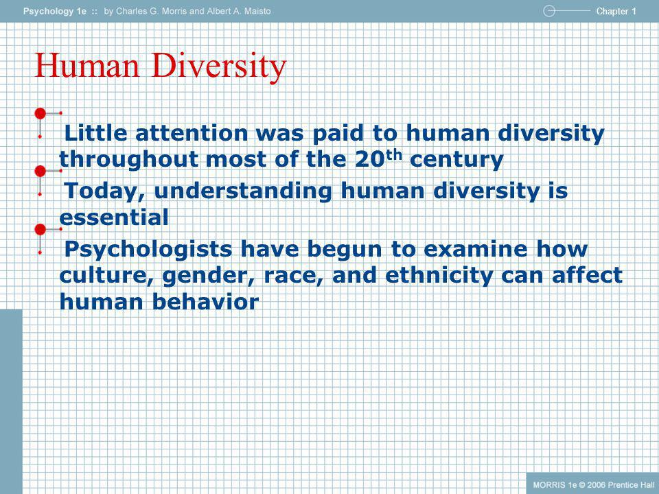 Human Diversity Little attention was paid to human diversity throughout most of the 20th century. Today, understanding human diversity is essential.