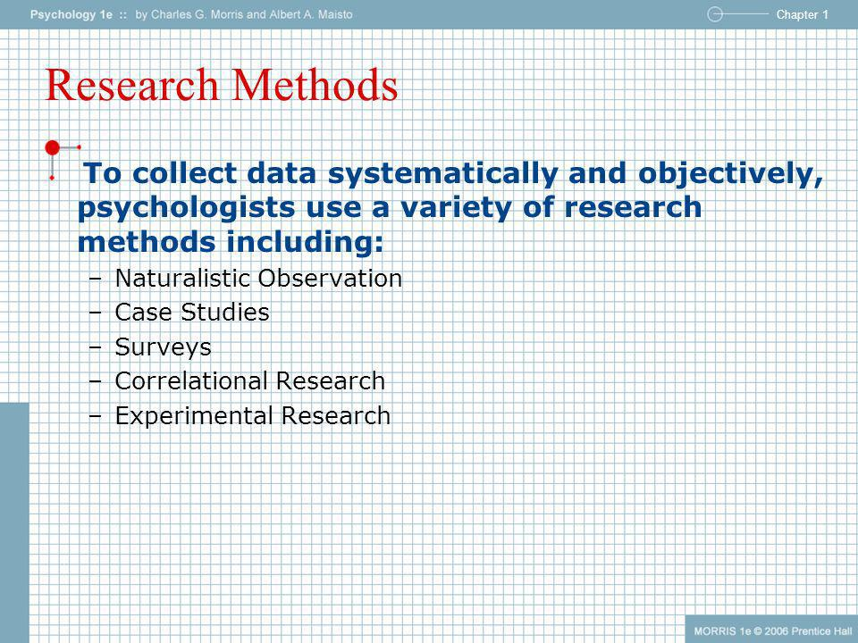 Research MethodsTo collect data systematically and objectively, psychologists use a variety of research methods including: