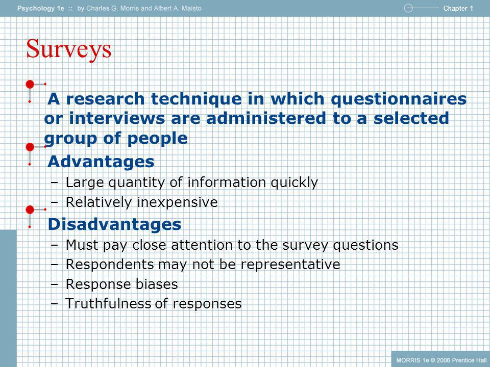 Surveys A research technique in which questionnaires or interviews are administered to a selected group of people.