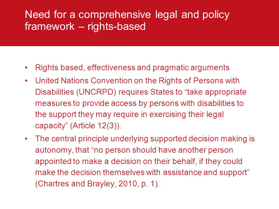 Need for a comprehensive legal and policy framework – rights-based
