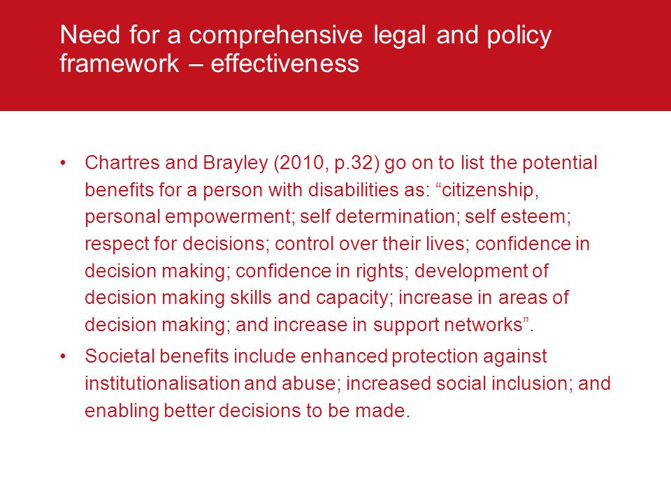 Need for a comprehensive legal and policy framework – effectiveness